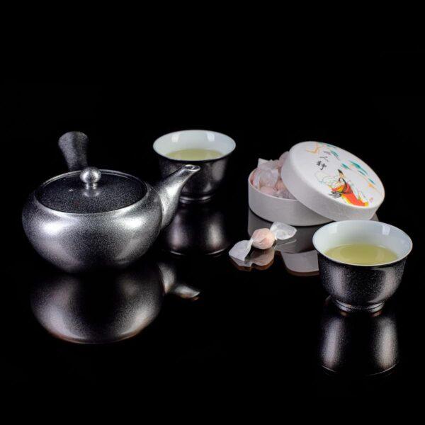 Чайник кусю фарфоровый Серебро_2
